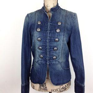INC Military Style Denim Jacket M @